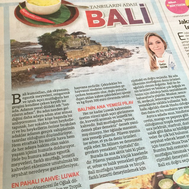 #Bali Mutfağını anlatan yazım bugün Milliyet Gazetesi ve selinekim.com 'da  #selinekim #chef #cuisine #travel #Indonesia